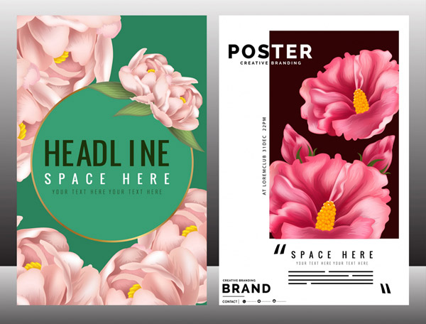 Exquisite Flower Business Poster Vector AI