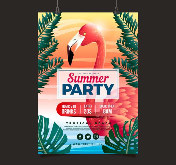 Flamingo Summer Party Flyer vector