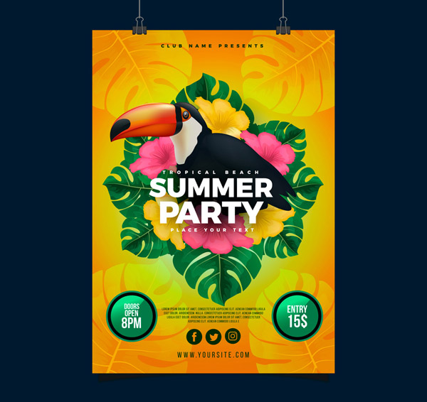 Giant Beak Bird Summer Party Flyer vector