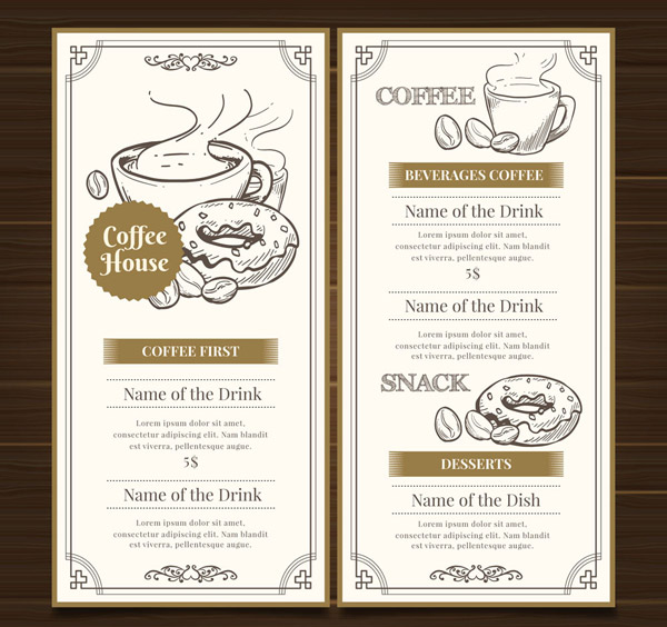 Hand-painted Coffee house Menu Vector AI
