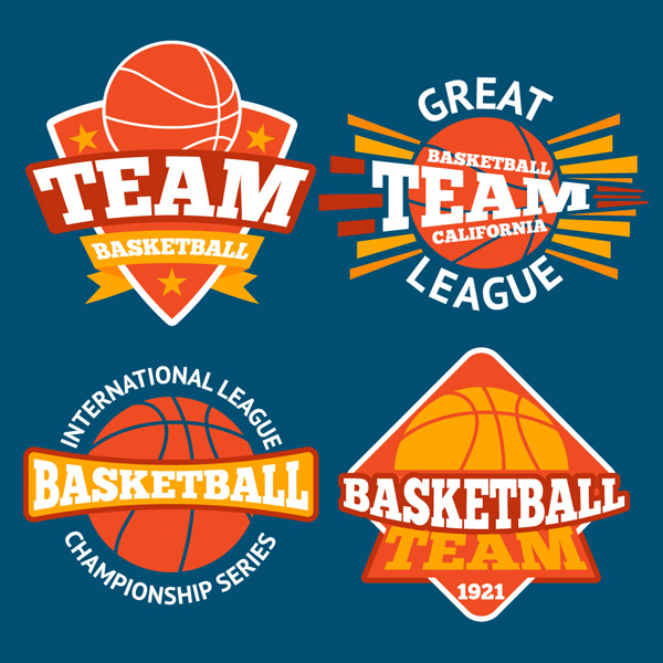 Orange Basketball Element label Vector EPS
