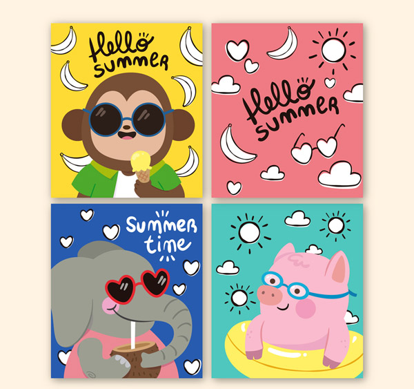 Painted Summer Animal cards Vector AI