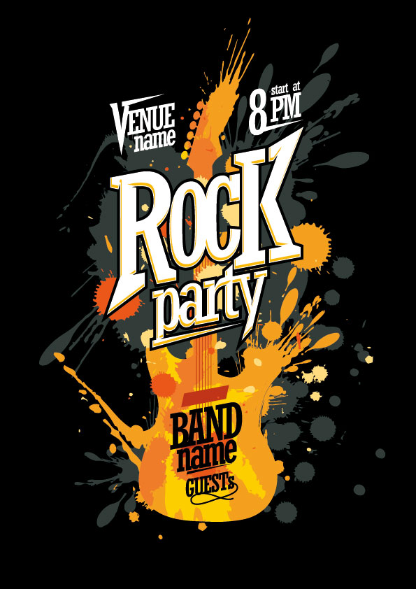 Rock and Roll Party poster Vector EPS
