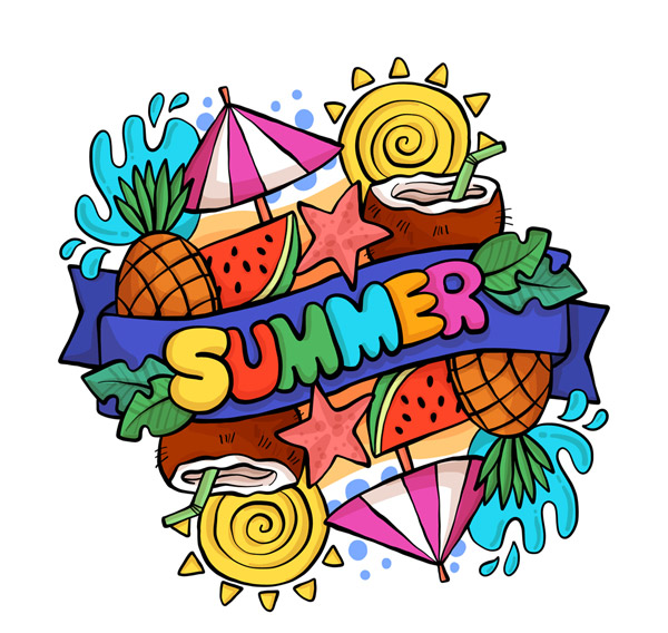 SUMMER Artistic characters Vector AI