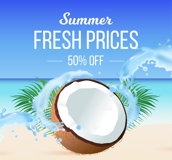 Summer Half price Promotion poster Vector AI