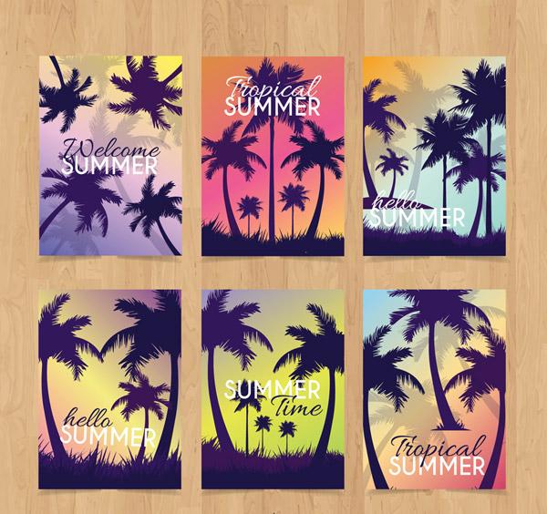 Summer Palm tree Cards Vector AI