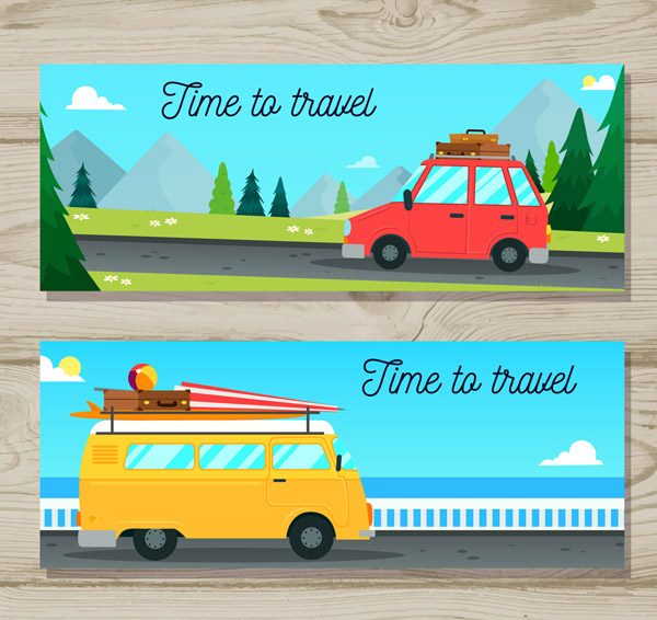 Travel Vehicle Banner Vector AI