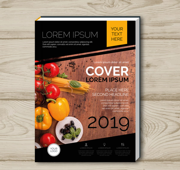 Vegetable Cuisine Book cover Vector AI