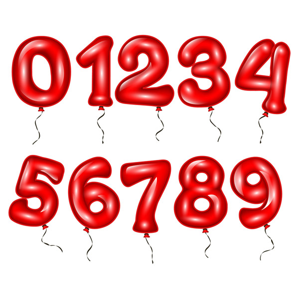 10 Red Balloon Numbers Vector AI