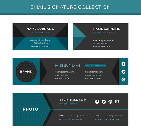 4 Fashion Email signatures Vector AI