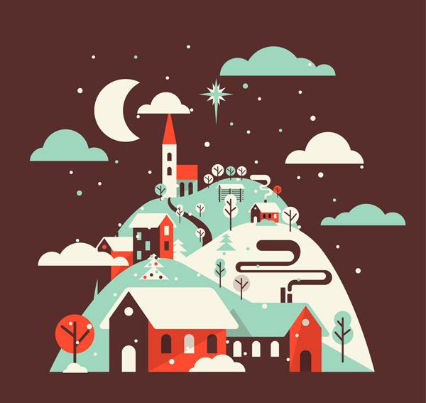 A house on a snowy hillside. Vector AI