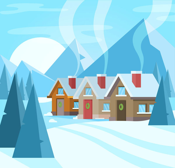 A house with smoke in the snow. Vector AI