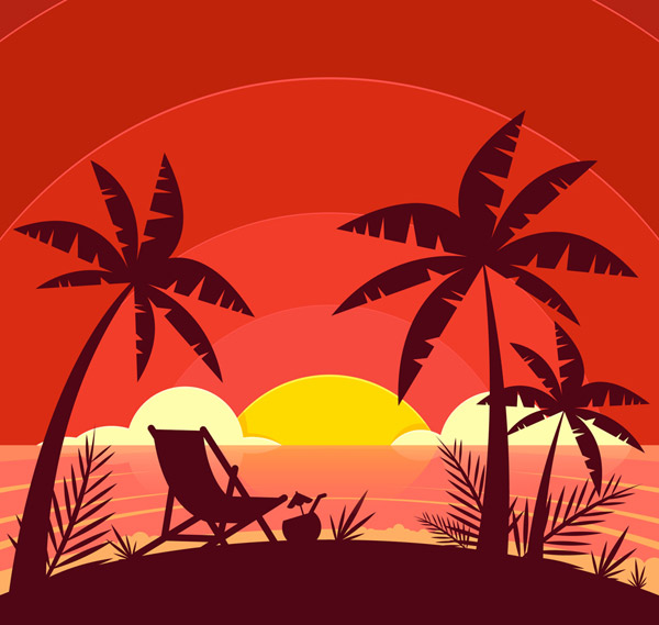 Beach Sunset Silhouette Vector