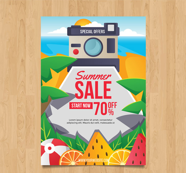 Camera Summer Promotional Flyer Vector AI
