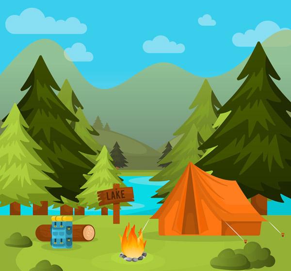 Camping Landscape Vector