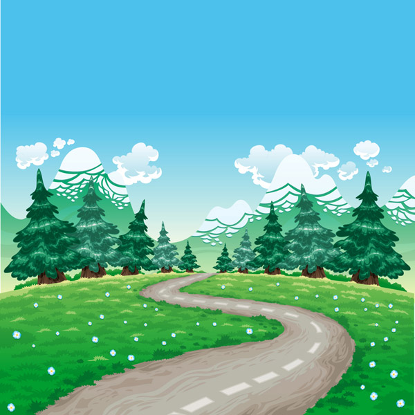 Cartoon Suburb Trail Landscape Vector AI