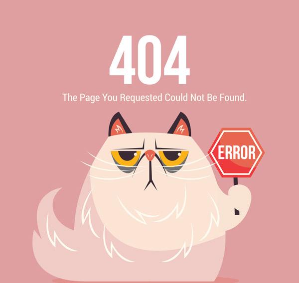 Cat 404 Error page Vector AI