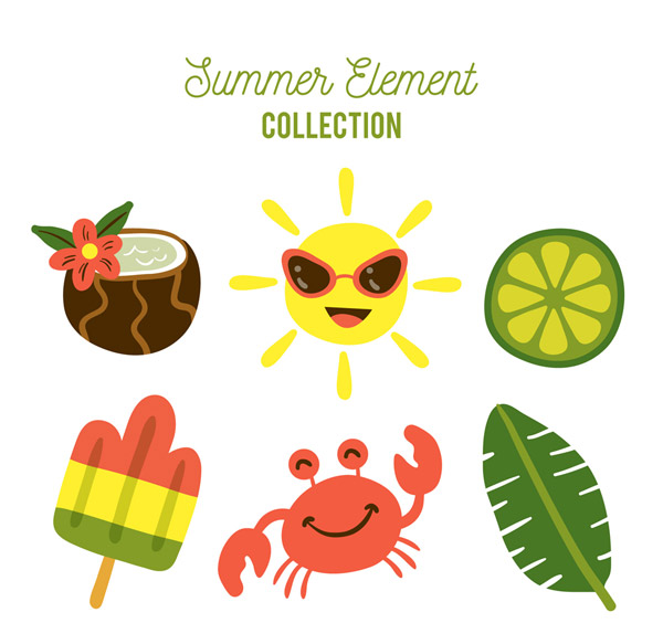 Color Summer Elements Vector AI