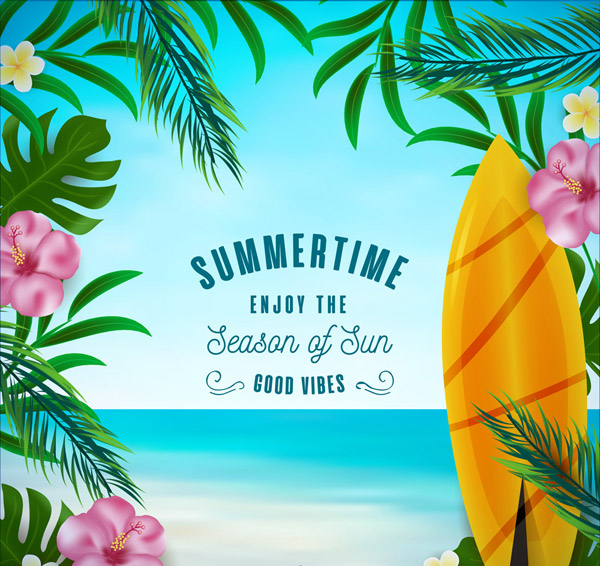 Colored summer Sea and flowers Vector AI