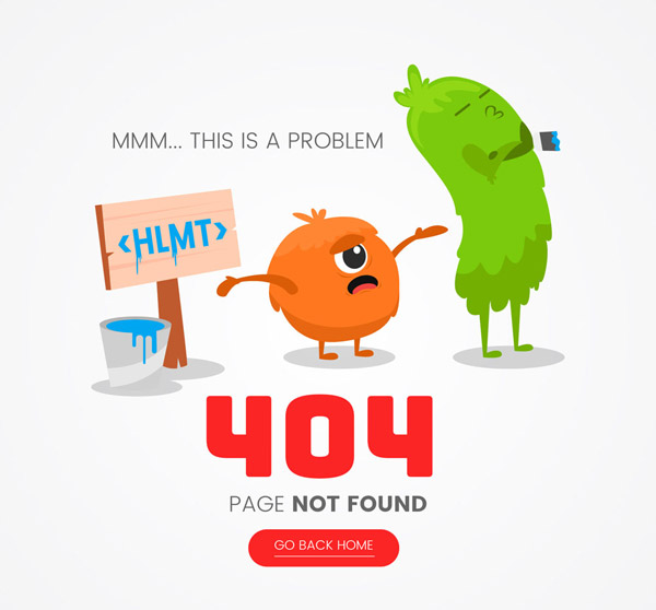 Cute Monster 404 error page Vector AI