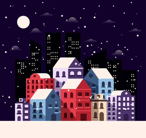 Night City architecture in the snow Vector AI