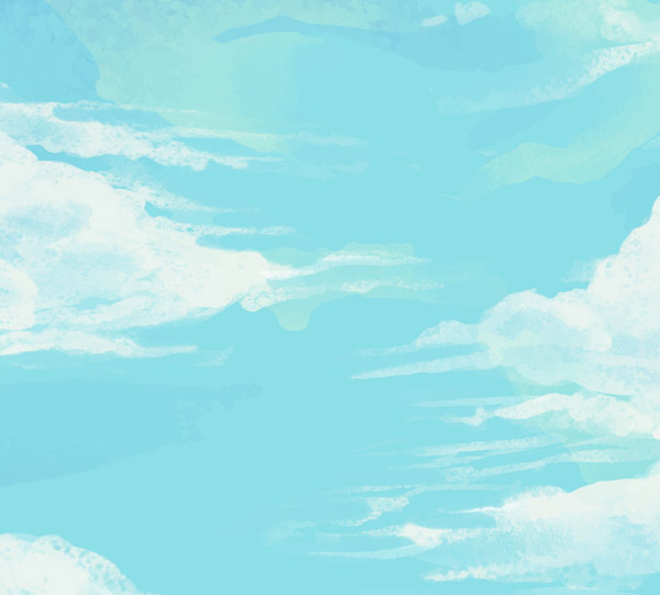 Painted blue sky and white clouds Vector AI