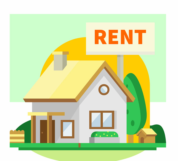 Rental houses in the sunset Vector AI