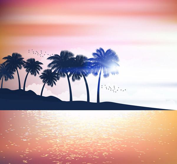 Sea Island Coconut Tree Silhouette Vector AI