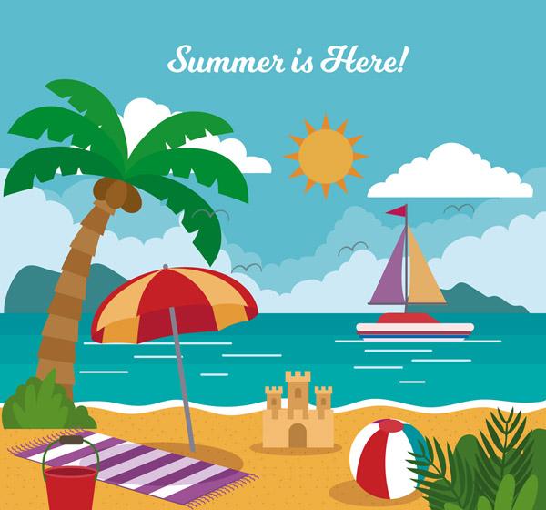 Summer Resort Beach View Vector AI