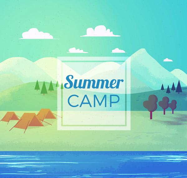 Summer Riverside Camping Landscape Vector AI 01