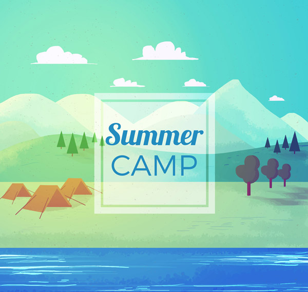 Summer Riverside Camping Landscape Vector AI
