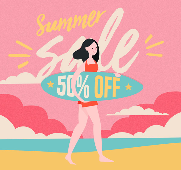 Surf Women's promotional poster Vector AI