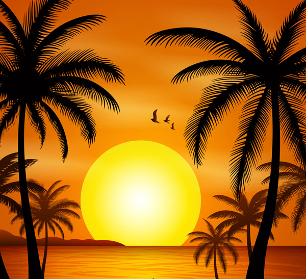 The sea beach under the sunset Vector AI