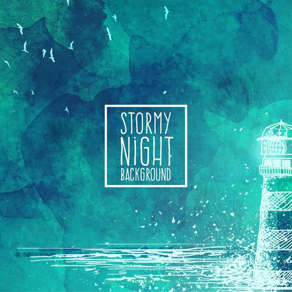 Thunder, the Sea and the lighthouse on a rainy night Vector AI