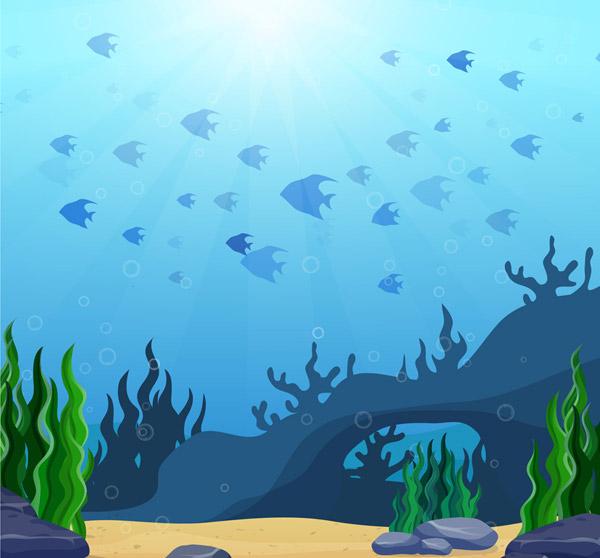 Underwater World Fish Landscape Vector AI