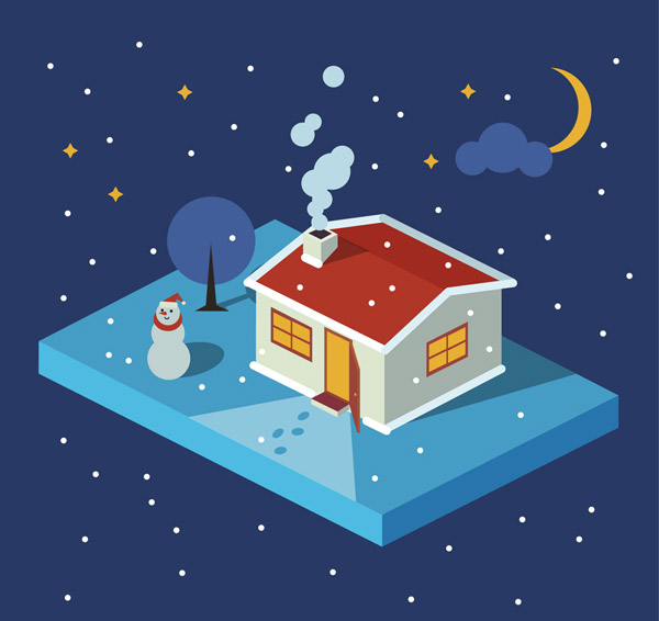 Winter Night houses and snowmen Vector AI
