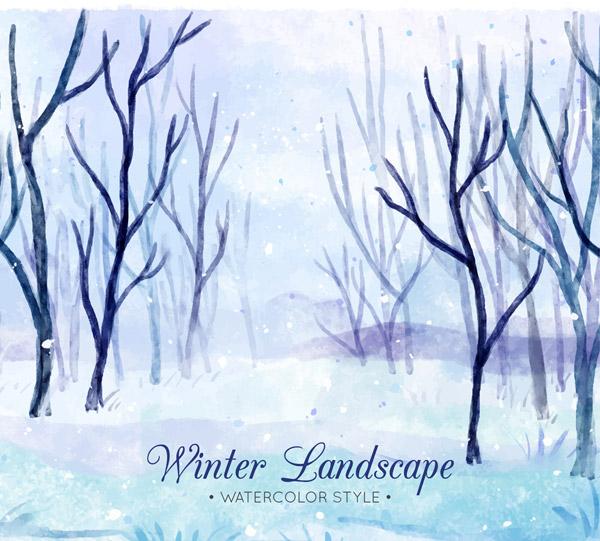 Winter Snow Grove Landscape Vector AI