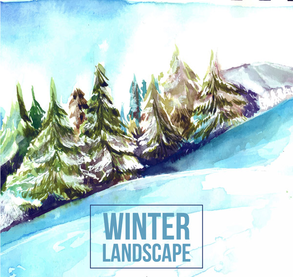 Winter Snow Mountain Pine forest Landscape Vector AI