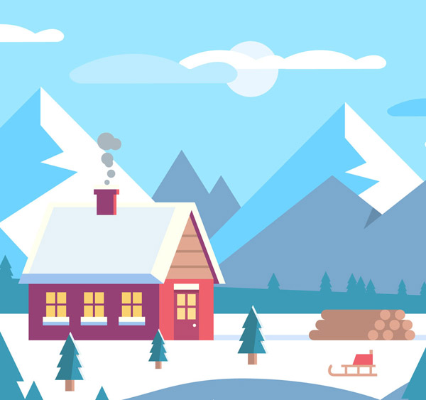 Wooden landscape under the snow Mountain Vector AI