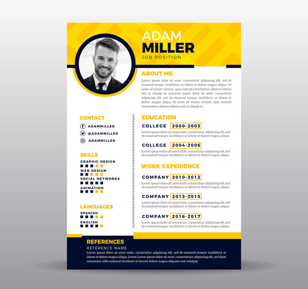 Yellow single page Resume Vector AI